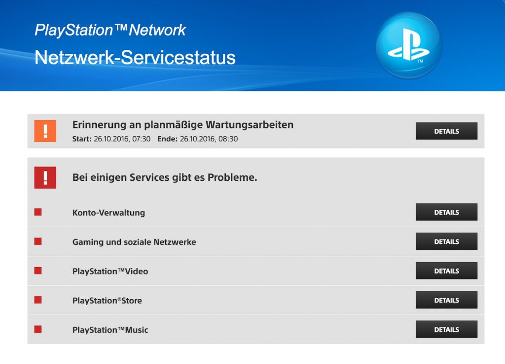 PSN Server Status: Alles down