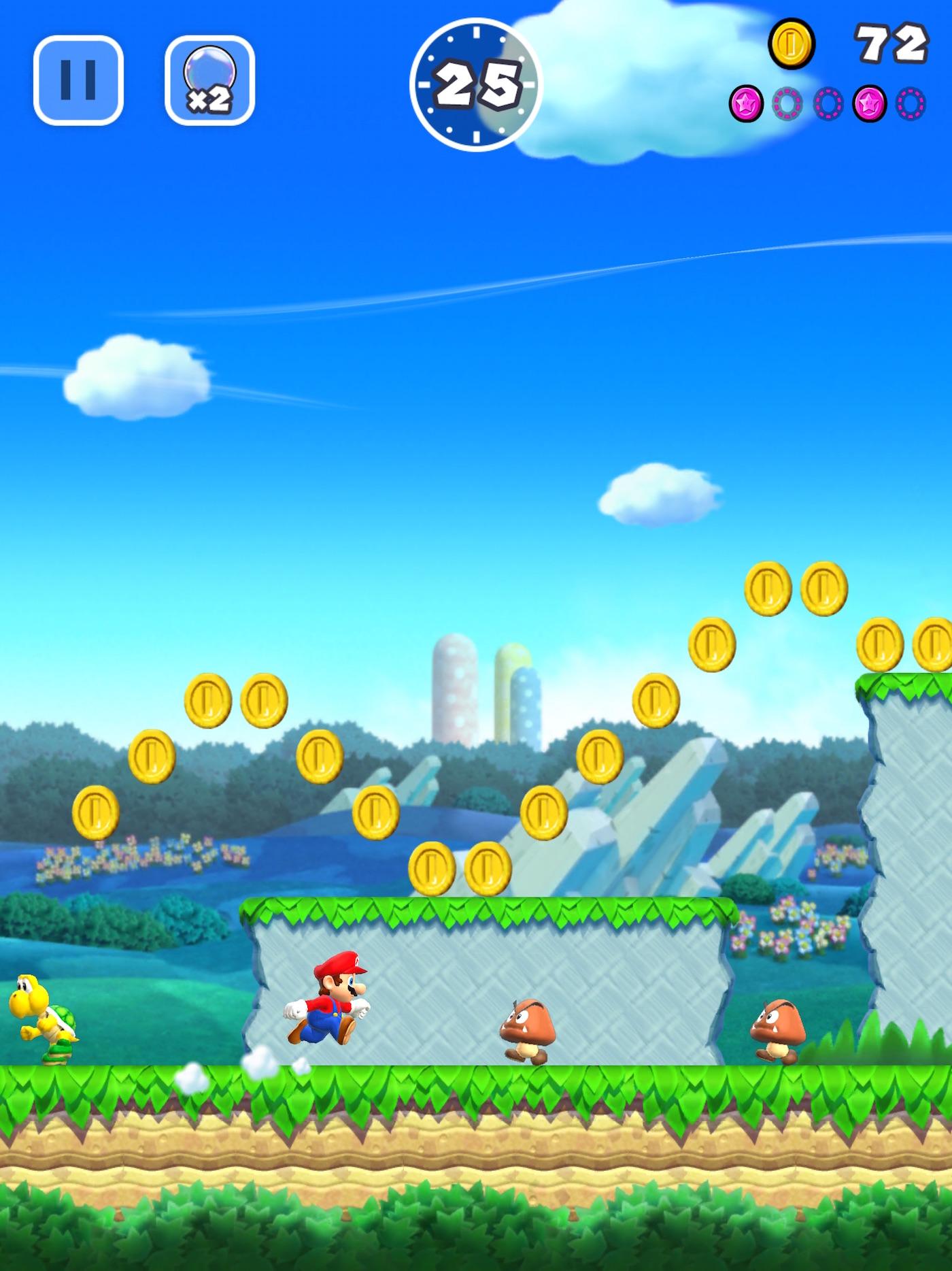 Super Mario Run für das iPhone erinnert auf den ersten Blick stark an die Konsolenversion, wäre da nicht das Hochkantformat  (Foto: Nintendo)